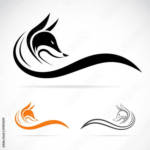 Cuadros en Lienzo Vector of fox design on white background