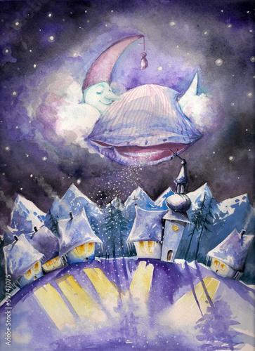 Moon sleeping on a cloud.Watercolors.