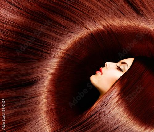 Healthy Long Brown Hair. Beauty Brunette Woman