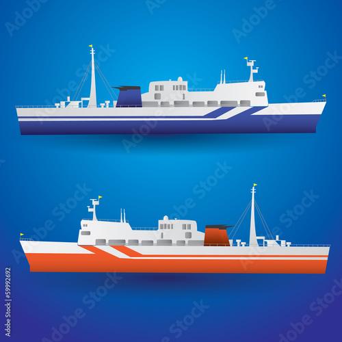 Canvas Print vector ferry ship eps10