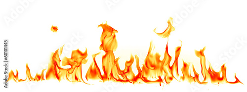 Fotografie, Obraz Fire flames isolated on white background