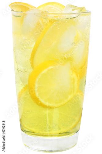 Fotografie, Tablou Lemonade with ice cubes and sliced lemon