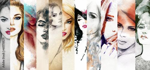 Piękna twarz kobiety akwarela ilustracja