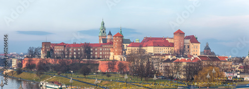 Cracow skyline with aerial view of historic royal Wawel Castle a #60266456