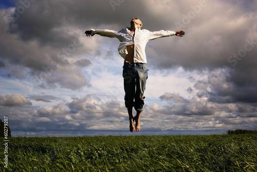 Valokuva man flying freedom yoga meditation