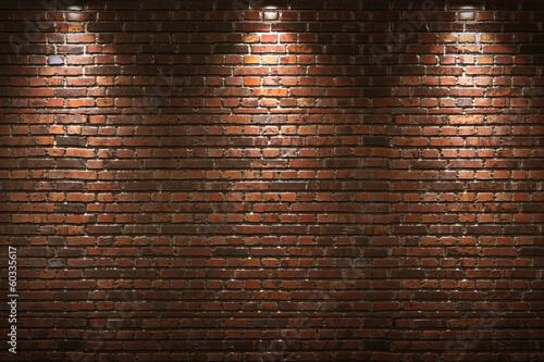 Illuminated brick wall Fototapeta