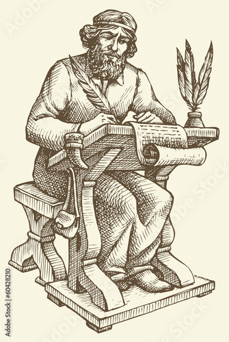 Fototapeta Vector line drawing of an ancient chronicler