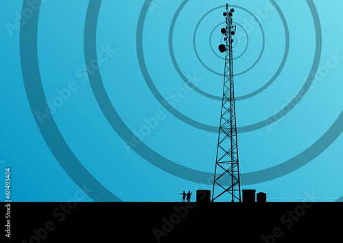 Canvas Print Telecommunications mobile phone base station radio tower with en