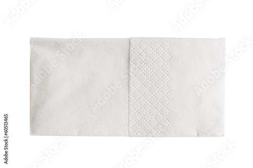 Folded white paper handkerchief isolated on white Fototapete