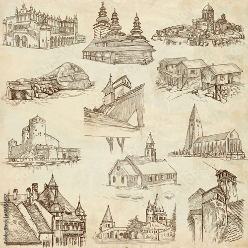 Architecture around the World (no.8) - hand drawings on paper #60656682
