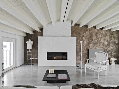 soggiorno moderno con camino Fototapet