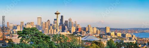 Seattle skyline panorama at sunset, Washington, USA