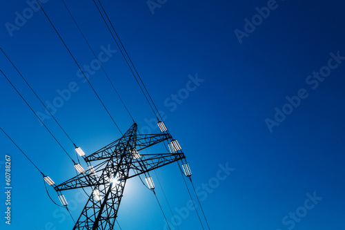 Photo electricity pylon against the light