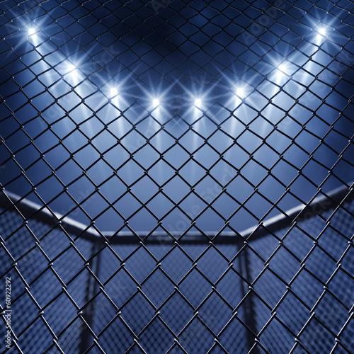 Fotografija MMA cage and floodlights