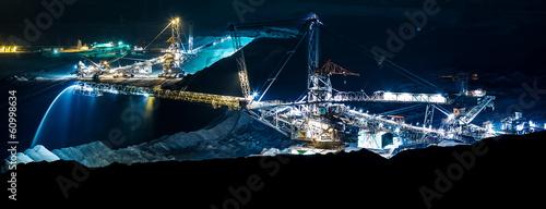 Photo machine in an open coal mine at night