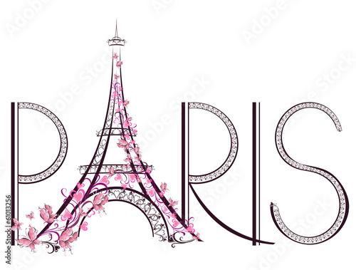 Fotografie, Obraz Tower Eiffel with Paris lettering