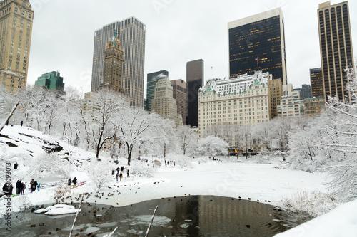 Fotografia New York Central Park in snow manhattan skyline