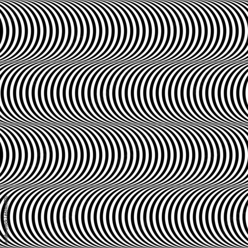 Op Art Design, Stripes Appears to Tilt, Vector Seamless Pattern #61406210