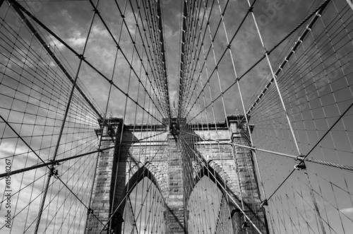 Naklejka na szafę Most Brooklyński, Miasto Nowy Jork B&W