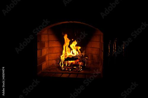 Fototapeta Fire in fireplace