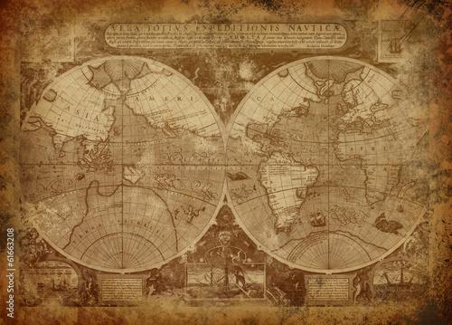 Valokuvatapetti Old world map