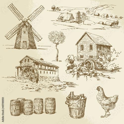 Obraz na płótnie Watermill and windmill - hand drawn collection