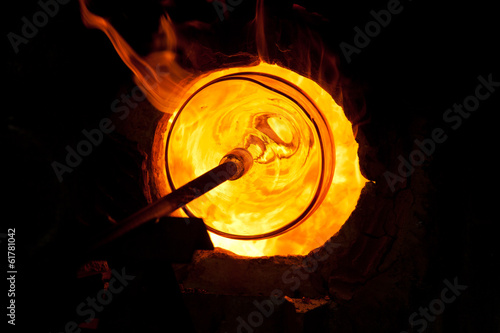 Canvas Print Glass blowing process