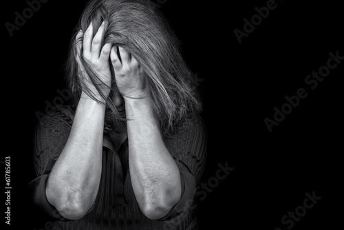 Young woman crying depression violence Fototapeta