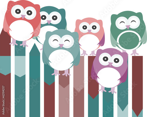 set of owls with different expressions
