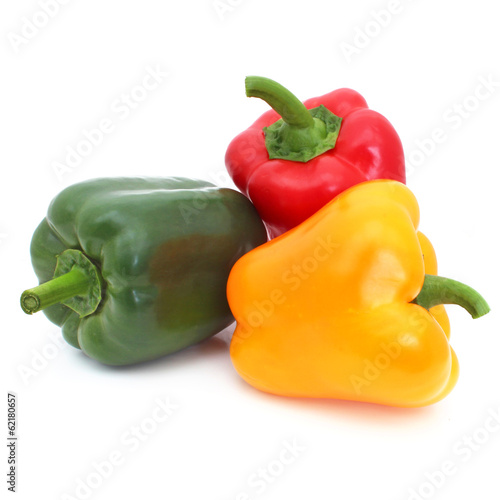 Poivrons - Green, red and yellow peppers Fototapeta