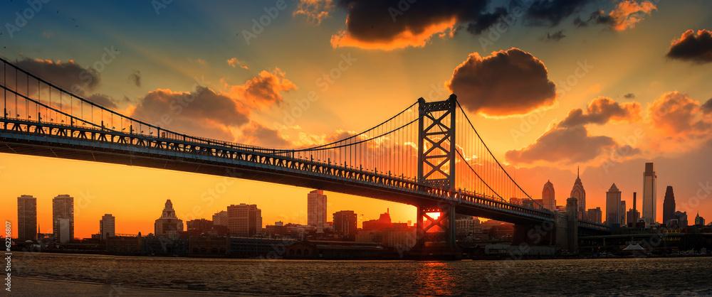 Panorama Philadelphia skyline, Ben Franklin Bridge i Penn's <span>plik: #62216807   autor: f11photo</span>