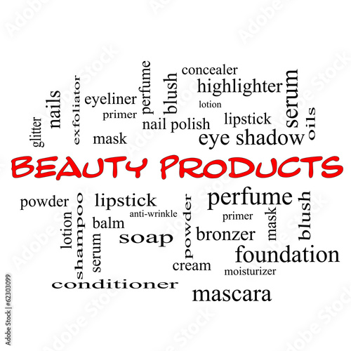 Beauty Products Word Cloud Concept in red caps #62303099
