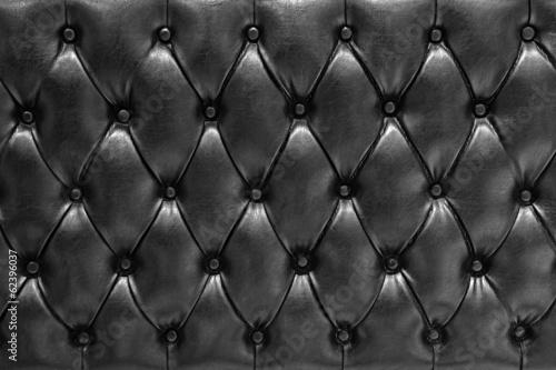 Fondo de textura de cuero acolchado en negro tipo chesterfield