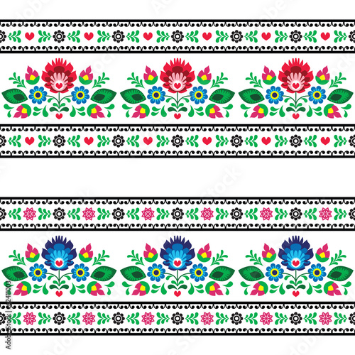 Seamless Polish folk pattern with flowers