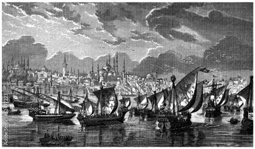 Fotografia 13th century : Crusaders before Constantinople