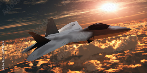 Canvas Print F-22 Fighter Jet at Sunset