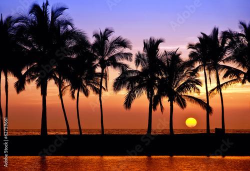 Fotografia Hawaiian sunset on Big Island, Anaehoomalu Bay