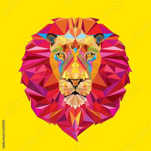 Lion head in geometric pattern
