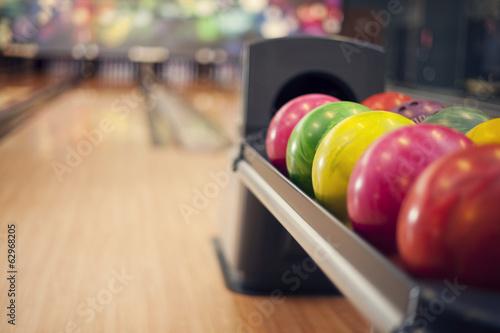 Foto Close up of bowling balls