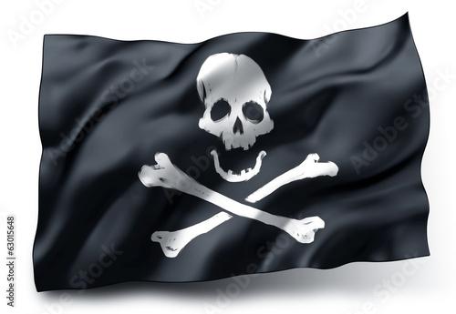 Obraz na płótnie Flaga piracka na wietrze