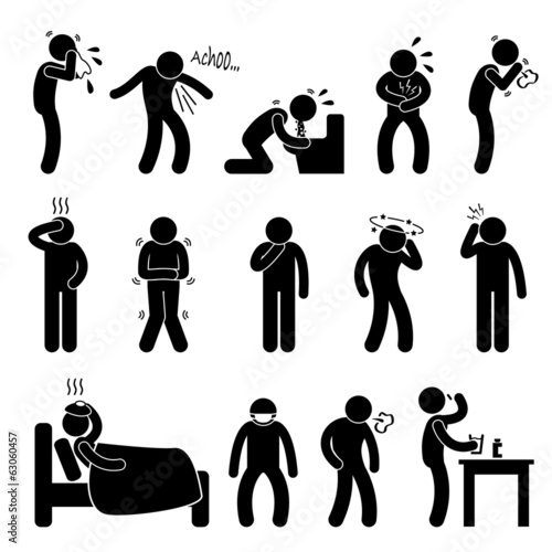 Photo Sick ill Fever Flu Cold Sneeze Cough Vomit Disease