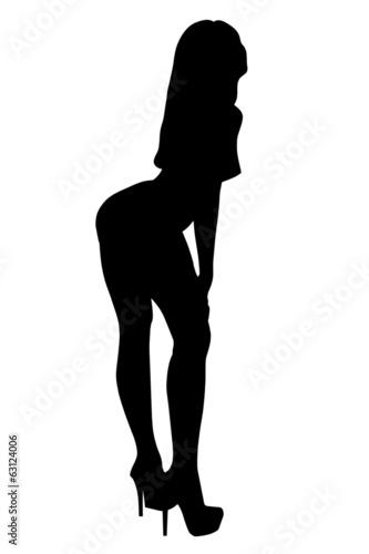 Czarny zarys sylwetki kobiety w tanecznej postawie, na białym tle.