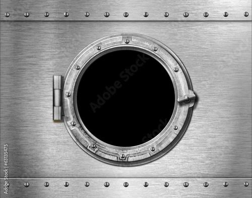 Photo ship or submarine window metal background