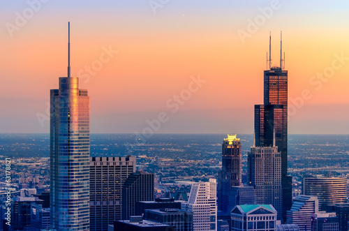 Chicago Towers in Red and Blue