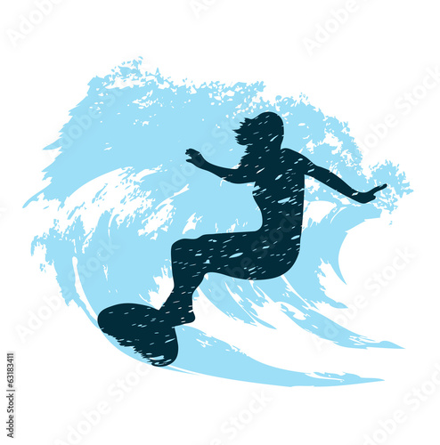 silhouette of a surfer in grunge style splashes #63183411