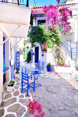 Canvas Print Beautiful streets of Skiathos island, Greece