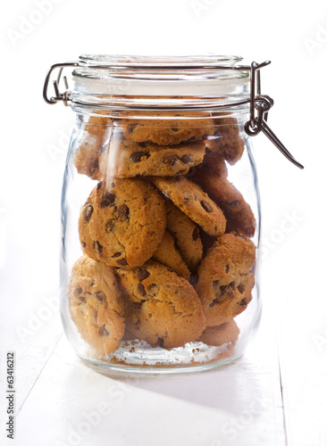 Chocolate  cookies in a glass jar Fototapeta