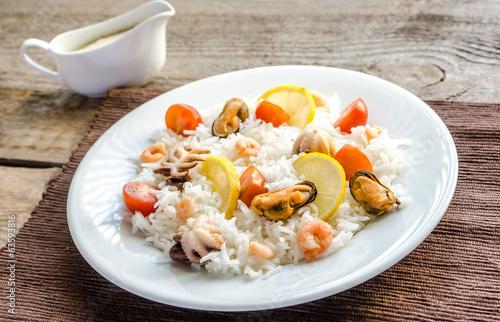 Basmati rice with seafood