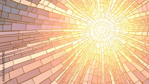 Canvas Print Vector illustration of mosaic sunset.