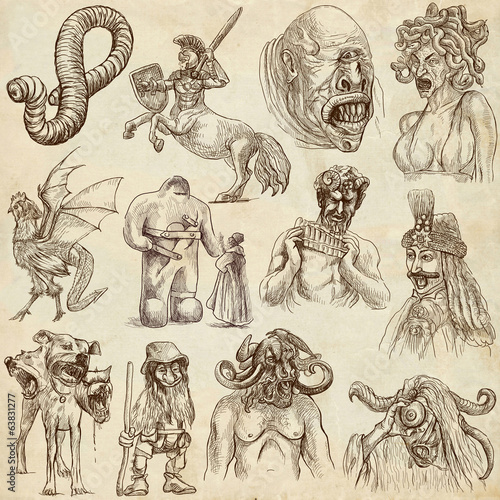 Canvas Print Myths and Legendary Monsters around the World (paper set no. 1)
